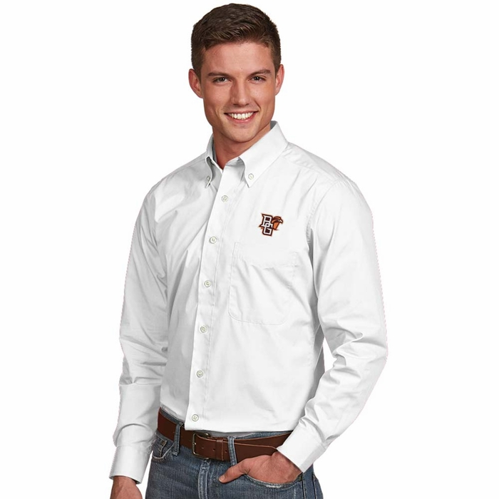 Bowling green mens dynasty button down dress shirt color for Mens white button down dress shirts