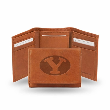 Brigham Young Embossed Leather Trifold Wallet
