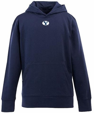 Brigham Young YOUTH Boys Signature Hooded Sweatshirt (Color: Navy)