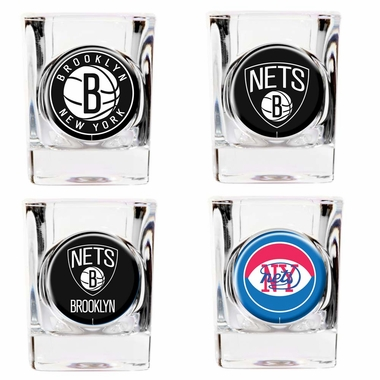Brooklyn Nets 4 Piece Assorted Shot Glass Set