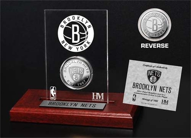 Brooklyn Nets Brooklyn Nets Silver Coin Etched Acrylic