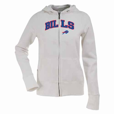 Buffalo Bills Applique Womens Zip Front Hoody Sweatshirt (Color: White)