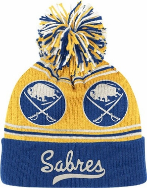 Buffalo Sabres CCM Repeating Logo Cuffed Pom Knit Hat