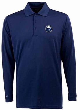 Buffalo Sabres Mens Long Sleeve Polo Shirt (Color: Navy)