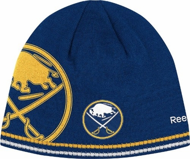 Buffalo Sabres Oversized Logo Reversible Cuffless Knit Player Hat