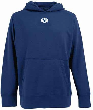 BYU Mens Signature Hooded Sweatshirt (Color: Navy)