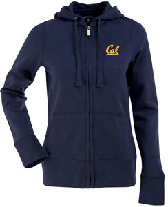 Cal Womens Zip Front Hoody Sweatshirt (Color: Navy) - Medium