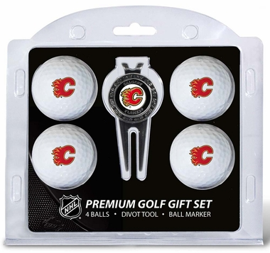 Calgary Flames 4 Ball and Divot Tool Set
