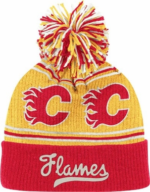 Calgary Flames CCM Repeating Logo Cuffed Pom Knit Hat
