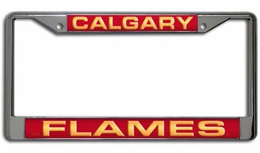 Calgary Flames Laser Etched Chrome License Plate Frame