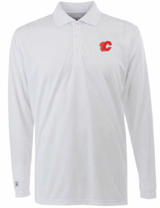 Calgary Flames Mens Long Sleeve Polo Shirt (Color: White) - XXX-Large