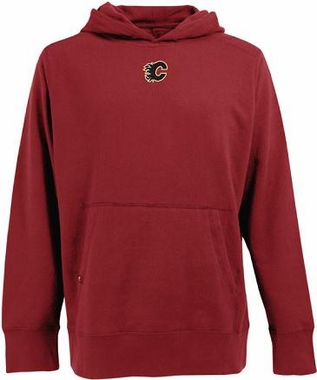 Calgary Flames Mens Signature Hooded Sweatshirt (Color: Red)