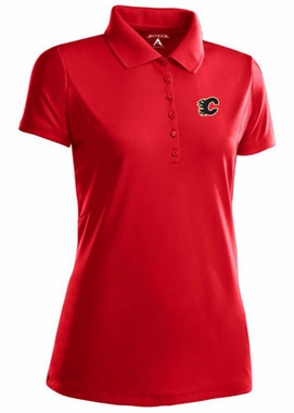 Calgary Flames Womens Pique Xtra Lite Polo Shirt (Color: Red)