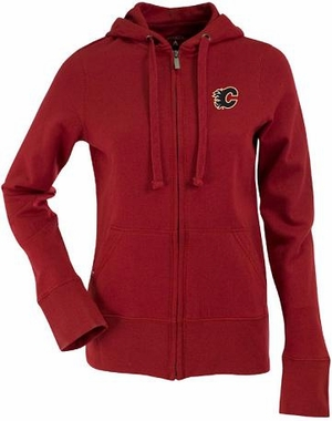 Calgary Flames Womens Zip Front Hoody Sweatshirt (Color: Red)