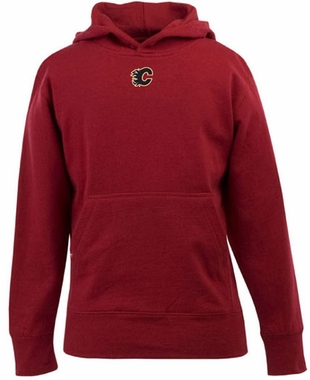 Calgary Flames YOUTH Boys Signature Hooded Sweatshirt (Color: Red)