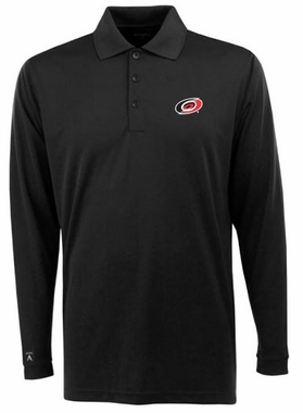 Carolina Hurricanes Mens Long Sleeve Polo Shirt (Color: Black)