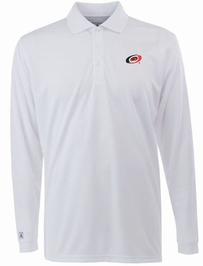 Carolina Hurricanes Mens Long Sleeve Polo Shirt (Color: White)