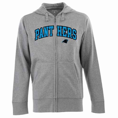 Carolina Panthers Mens Applique Full Zip Hooded Sweatshirt (Color: Gray)