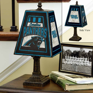 Carolina Panthers Small Art Glass Lamp