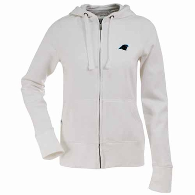 Carolina Panthers Womens Zip Front Hoody Sweatshirt (Color: White)