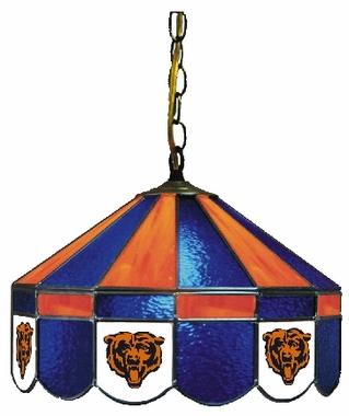 Chicago Bears 16 Inch Diameter Stained Glass Pub Light