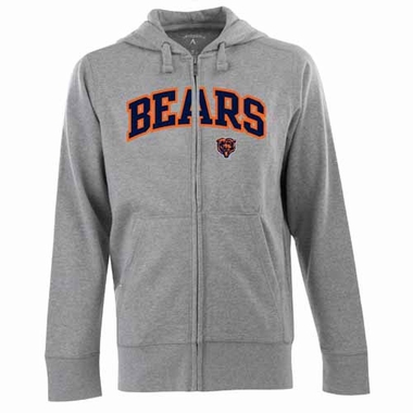 Chicago Bears Mens Applique Full Zip Hooded Sweatshirt (Color: Silver)
