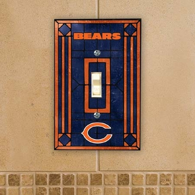 Chicago Bears Art Glass Lightswitch Cover