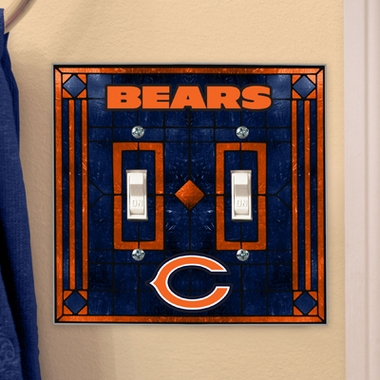 Chicago Bears Art Glass Lightswitch Cover (Double)