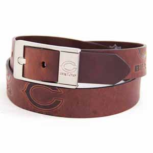 Chicago Bears Brown Leather Brandished Belt - Size 36 (For 34 Inch Waist)