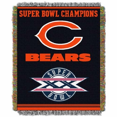 Chicago Bears Commerative Jacquard Woven Blanket