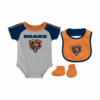 Chicago Bears Infant NFL 3 Piece Creeper Bib Bootie Set