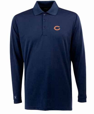 Chicago Bears Mens Long Sleeve Polo Shirt (Color: Navy) - Large