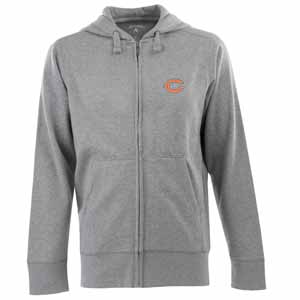 Chicago Bears Mens Signature Full Zip Hooded Sweatshirt (Color: Gray) - Large