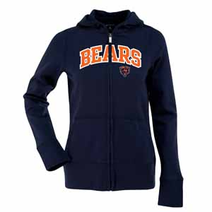 Chicago Bears Applique Womens Zip Front Hoody Sweatshirt (Color: Navy) - Large
