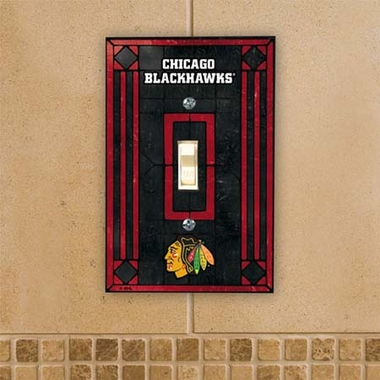 Chicago Blackhawks Art Glass Lightswitch Cover