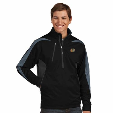 Chicago Blackhawks Mens Discover 1/4 Zip Pullover (Color: Black)