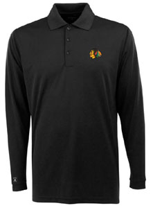 Chicago Blackhawks Mens Long Sleeve Polo Shirt (Color: Black) - X-Large
