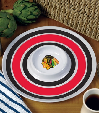 Chicago Blackhawks Plastic Chip and Dip Plate