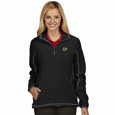Chicago Blackhawks Womens Ice Polar Fleece Jacket (Color: Black)