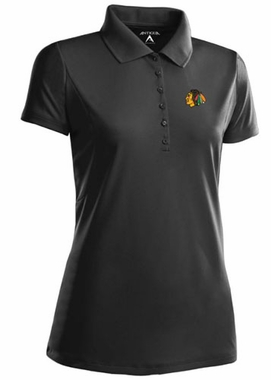 Chicago Blackhawks Womens Pique Xtra Lite Polo Shirt (Color: Black)