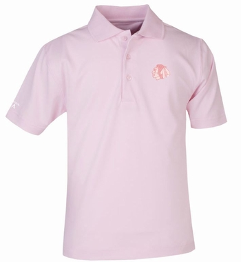 Chicago Blackhawks YOUTH Unisex Pique Polo Shirt (Color: Pink)