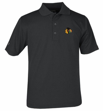 Chicago Blackhawks YOUTH Unisex Pique Polo Shirt (Color: Black)