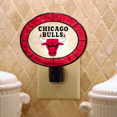 Chicago Bulls Art Glass Night Light