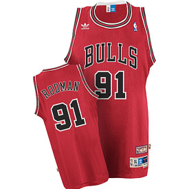 Chicago Bulls Dennis Rodman Adidas Team Color Throwback Replica Premiere Jersey - X-Large