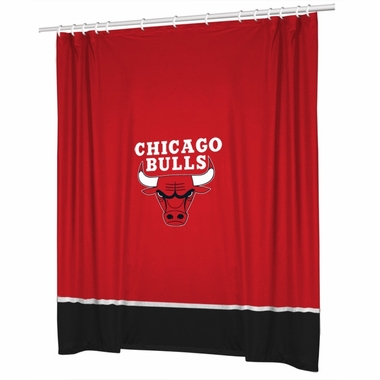 Chicago Bulls Jersey Material Shower Curtain