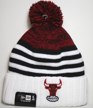 Chicago Bulls New Era NBA Snowfall Stripe Cuffed Knit Hat
