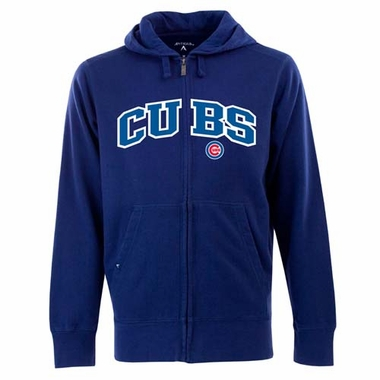 Chicago Cubs Mens Applique Full Zip Hooded Sweatshirt (Color: Blue)