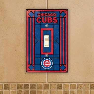 Chicago Cubs Art Glass Lightswitch Cover
