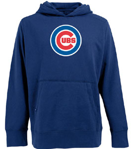 Chicago Cubs Big Logo Mens Signature Hooded Sweatshirt (Color: Royal) - Large