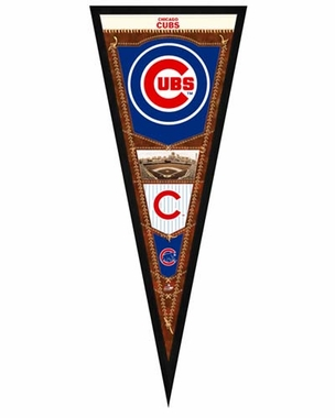 """Chicago Cubs Pennant Frame - 13""""x33"""" (No Glass)"""